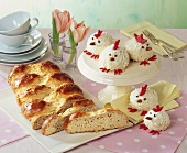 Orange bread plait and coconut hens for the Easter table