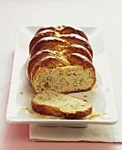 Hazelnut bread plait with orange marmalade