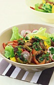 Vegetable salad with strips of fried duck breast