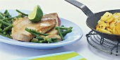 Tuna with French beans and coriander potatoes