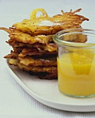 Potato rosti with apple and mango puree