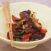 Beef with peppers and oyster sauce