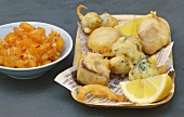 Fish and vegetable tempura with apricot chutney