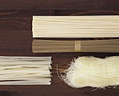 Various types of Asian noodles