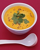 Pumpkin and coconut soup with chilli and coriander