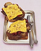 Beef liver, onions, cranberries and cheese on toast