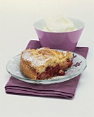 Cranberry and apple pie with cream