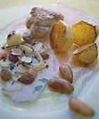 Pork fillet in almond sauce with potatoes