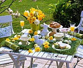 Cress, narcissi, bread plait, baked Easter Bunnies on Easter table