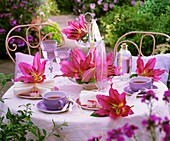 Table laid for tea with lilies in open air
