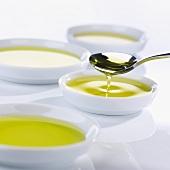 Tasting bowls full of olive oil