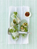 Rice paper rolls filled with Thai asparagus