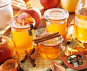 Home-made apple jelly in preserving jars
