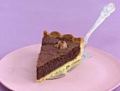 A piece of chocolate nut tart on a cake slice