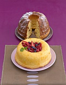 Savarin with berries and almond gugelhupf