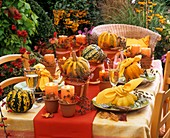 Autumnal table decoration of squashes and autumn leaves
