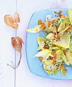 Chicory and radicchio salad in lentil vinaigrette