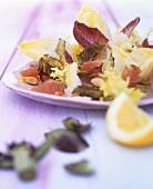 Chicory & artichoke salad with pink grapefruit & pecorino