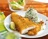 Breaded fish with rice timbale