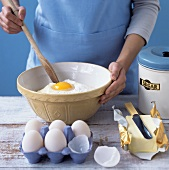 Baking ingredients: eggs, flour, butter and sugar
