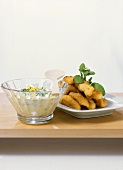 Fish nuggets with yoghurt dip