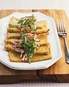 Smoked tofu with radishes and ramsons (wild garlic)
