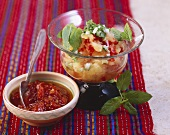 Spicy tomato salsa & pineapple salsa with mint (from Mexico)