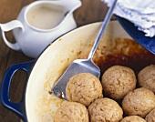 Spelt Dampfnudeln (yeast dumplings) with custard