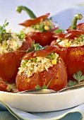 Red peppers with rice stuffing