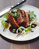 Barbary duck breast with beetroot and pear salad