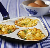 Small vegetable gratins with cheese topping