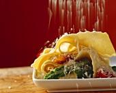 Lasagnette with asparagus, ham and Parmesan