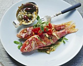 Triglie ai capperi (red mullet with capers), Sicily, Italy