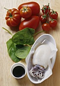 Ingredients for colouring pasta: tomatoes, spinach, squid ink