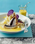 Grilled sardines with fennel and curry foam sauce