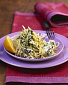 White cabbage with pesto and lemon sauce