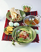 Easter buffet: citrus fruit soup, ceviche and tortillas