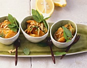 Carrots in lemon mint sauce with slivered almonds