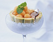 Melon balls with sherry