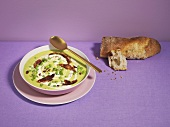 Pea soup with pancetta