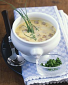 Bread soup with chives (Bavarian cuisine)