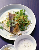 Sea bream with mangetout, red lentils and yoghurt sauce