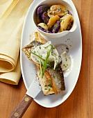 Charr with radish and purple potato salad