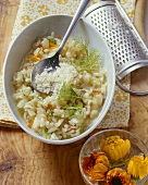 Fennel risotto with marigolds