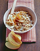 Bircher muesli with apples, carrots and raisins