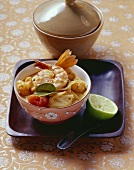 Fish and seafood curry with coconut milk
