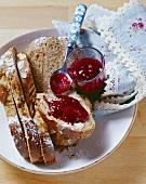 Spelt bread plait with raisins and almonds