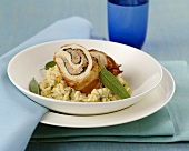 Roulade of corn-fed chicken, saltimbocca style, with risotto