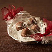 Raspberry chocolates, gift-wrapped