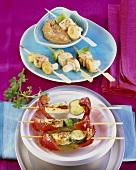 Halloumi and vegetable skewers and tofu satay